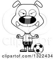 Lineart Clipart Of A Cartoon Black And White Mad Dog Soccer Player Royalty Free Outline Vector Illustration