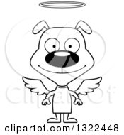 Lineart Clipart Of A Cartoon Black And White Happy Dog Angel Royalty Free Outline Vector Illustration