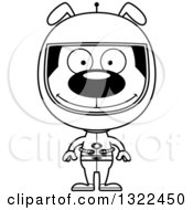 Lineart Clipart Of A Cartoon Black And White Happy Dog Astronaut Royalty Free Outline Vector Illustration