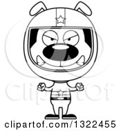 Lineart Clipart Of A Cartoon Black And White Mad Dog Race Car Driver Royalty Free Outline Vector Illustration