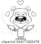 Lineart Clipart Of A Cartoon Black And White Mad Cupid Dog Royalty Free Outline Vector Illustration