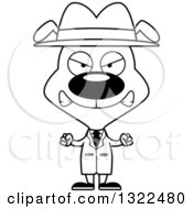 Lineart Clipart Of A Cartoon Black And White Mad Dog Detective Royalty Free Outline Vector Illustration