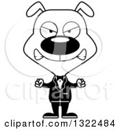 Lineart Clipart Of A Cartoon Black And White Mad Dog Groom Royalty Free Outline Vector Illustration