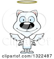 Clipart Of A Cartoon Happy White Angel Cat Royalty Free Vector Illustration