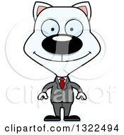 Clipart Of A Cartoon Happy White Cat Business Man Royalty Free Vector Illustration