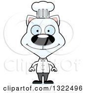 Clipart Of A Cartoon Happy White Cat Chef Royalty Free Vector Illustration