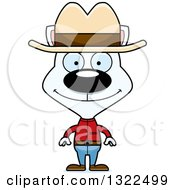 Clipart Of A Cartoon Happy White Cat Cowboy Royalty Free Vector Illustration