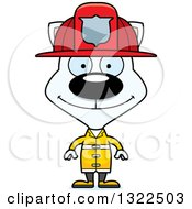 Clipart Of A Cartoon Happy White Cat Firefighter Royalty Free Vector Illustration