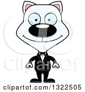 Clipart Of A Cartoon Happy White Cat Groom Royalty Free Vector Illustration