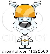 Clipart Of A Cartoon Happy White Cat Hermes Royalty Free Vector Illustration