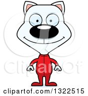 Clipart Of A Cartoon Happy White Cat In Pajamas Royalty Free Vector Illustration