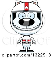 Clipart Of A Cartoon Happy White Cat Race Car Driver Royalty Free Vector Illustration