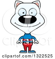 Clipart Of A Cartoon Happy White Cat Super Hero Royalty Free Vector Illustration