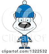 Clipart Of A Cartoon Happy White Winter Cat Royalty Free Vector Illustration