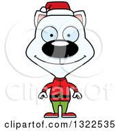 Clipart Of A Cartoon Happy White Cat Christmas Elf Royalty Free Vector Illustration
