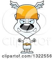 Clipart Of A Cartoon Mad White Cat Hermes Royalty Free Vector Illustration