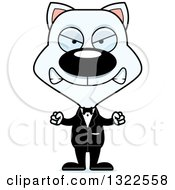 Clipart Of A Cartoon Mad White Cat Groom Royalty Free Vector Illustration