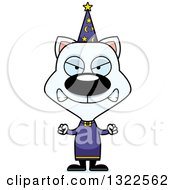 Clipart Of A Cartoon Mad White Cat Wizard Royalty Free Vector Illustration