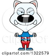 Clipart Of A Cartoon Mad White Cat Super Hero Royalty Free Vector Illustration