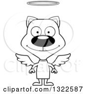 Lineart Clipart Of A Cartoon Black And White Happy Angel Cat Royalty Free Outline Vector Illustration