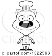 Lineart Clipart Of A Cartoon Black And White Happy Cat Chef Royalty Free Outline Vector Illustration