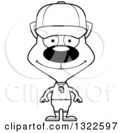 Lineart Clipart Of A Cartoon Black And White Happy Cat Sports Coach Royalty Free Outline Vector Illustration