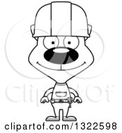 Cartoon Black And White Happy Cat Construction Worker