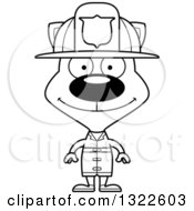 Lineart Clipart Of A Cartoon Black And White Happy Cat Firefighter Royalty Free Outline Vector Illustration