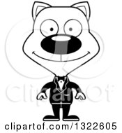 Lineart Clipart Of A Cartoon Black And White Happy Cat Groom Royalty Free Outline Vector Illustration
