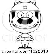 Lineart Clipart Of A Cartoon Black And White Happy Cat Race Car Driver Royalty Free Outline Vector Illustration
