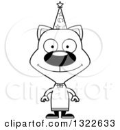 Lineart Clipart Of A Cartoon Black And White Happy Cat Wizard Royalty Free Outline Vector Illustration