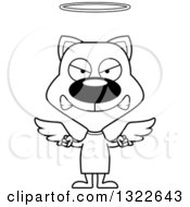 Lineart Clipart Of A Cartoon Black And White Mad Angel Cat Royalty Free Outline Vector Illustration