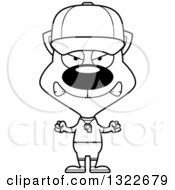 Lineart Clipart Of A Cartoon Black And White Mad Cat Sports Coach Royalty Free Outline Vector Illustration