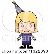 Clipart Of A Cartoon Happy Blond White Girl Wizard Royalty Free Vector Illustration