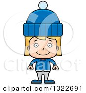Clipart Of A Cartoon Happy Blond White Girl In Winter Clothes Royalty Free Vector Illustration