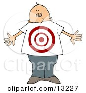 Man With A Target On His Stomach Clipart Illustration