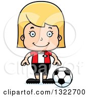 Clipart Of A Cartoon Happy Blond White Girl Soccer Player Royalty Free Vector Illustration