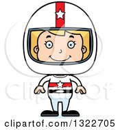 Clipart Of A Cartoon Happy Blond White Race Car Driver Girl Royalty Free Vector Illustration