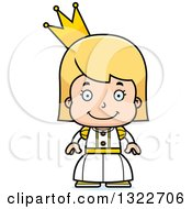 Clipart Of A Cartoon Happy Blond White Girl Princess Royalty Free Vector Illustration by Cory Thoman