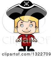 Clipart Of A Cartoon Happy Blond White Pirate Girl Royalty Free Vector Illustration