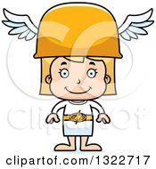 Clipart Of A Cartoon Happy Blond White Hermes Girl Royalty Free Vector Illustration