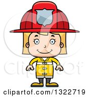Clipart Of A Cartoon Happy Blond White Girl Firefighter Royalty Free Vector Illustration