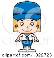 Clipart Of A Cartoon Happy Blond White Girl Sports Coach Royalty Free Vector Illustration