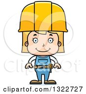 Cartoon Happy Blond White Girl Construction Worker