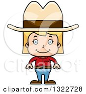 Clipart Of A Cartoon Happy Blond White Cowgirl Royalty Free Vector Illustration by Cory Thoman