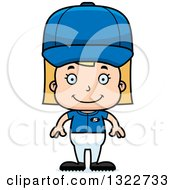 Clipart Of A Cartoon Happy Blond White Girl Baseball Player Royalty Free Vector Illustration