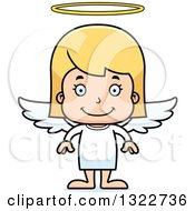 Clipart Of A Cartoon Happy Blond White Girl Angel Royalty Free Vector Illustration