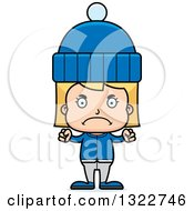 Clipart Of A Cartoon Mad Blond White Girl In Winter Clothes Royalty Free Vector Illustration