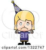 Clipart Of A Cartoon Mad Blond White Girl Wizard Royalty Free Vector Illustration