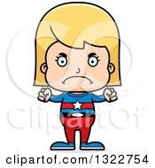 Clipart Of A Cartoon Mad Blond White Girl Super Hero Royalty Free Vector Illustration
